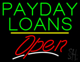Payday Loans Open Yellow Line Neon Sign