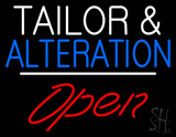 Tailor And Alteration Open White Line Neon Sign