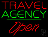 Travel Agency Open Green Line Neon Sign