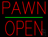 Pawn Block Open Green Line Neon Sign