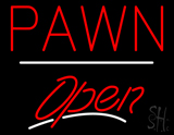 Pawn Open White Line Neon Sign