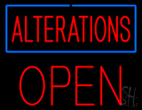 Red Alterations Blue Border Open Neon Sign