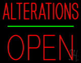 Red Alterations Block Open Neon Sign