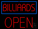 Billiards Block Open Neon Sign