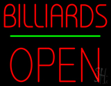 Billiards Open Block Green Line Neon Sign