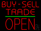 Red Buy Sell Trade Block Open Green Line Neon Sign