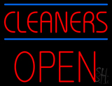 Red Cleaners Blue Lines Block Open Neon Sign