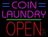 Coin Laundry Block Open Green Line Neon Sign