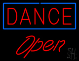 Red Dance Blue Border Open Neon Sign