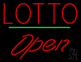 Red Lotto Green Line Open Neon Sign