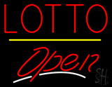 Red Lotto Yellow Line Open Neon Sign