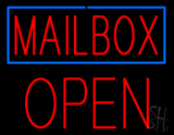 Mailbox Blue Border Open Block Neon Sign