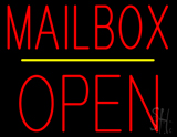 Mailbox Open Block Yellow Line Neon Sign
