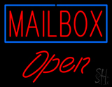 Mailbox Blue Border Open Neon Sign