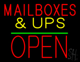 Mail Boxes And Ups Open Block Green Line Neon Sign