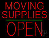 Moving Supplies Open Block Green Line Neon Sign