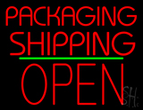 Packaging Shipping Open Block Green Line Neon Sign