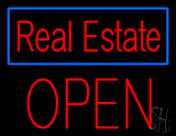 Real Estate Blue Border Block Open Neon Sign