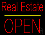 Real Estate Block Open Yellow Line Neon Sign