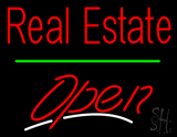 Real Estate Open Green Line Neon Sign