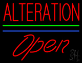 Red Alteration Blue Green Line Slant Open Neon Sign