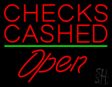 Red Checks Cashed Green Line Open Neon Sign