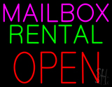 Mailbox Rental Open Block Neon Sign