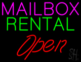 Mailbox Rental Block Open Neon Sign