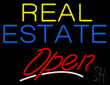 Yellow Real Estate Red Open Neon Sign