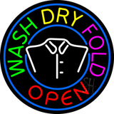 Round Wash Dry Fold Open Logo Neon Sign