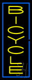 Vertical Bicycle Blue Border Neon Sign
