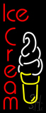 Vertical Red Ice Cream With Logo Neon Sign