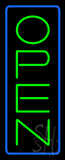 Open Vertical Green Letters With Blue Border Neon Sign