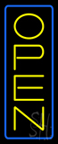 Open Vertical Yellow Letters With Blue Border Neon Sign