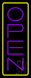 Open Vertical Purple Letters With Yellow Border Neon Sign
