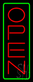 Open Vertical Red Letters With Green Border Neon Sign