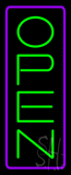Open Vertical Green Letters With Purple Border Neon Sign