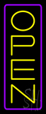 Open Vertical Yellow Letters With Purple Border Neon Sign