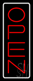 Open Vertical Red Letters With White Border Neon Sign