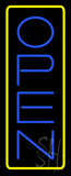 Open Vertical Blue Letters With Yellow Border Neon Sign