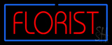 Red Florist Border Blue Neon Sign