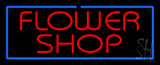 Red Flower Shop Blue Border Neon Sign