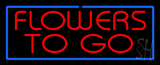 Red Flowers To Go Blue Border Neon Sign