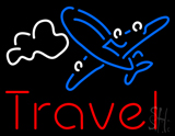 Red Travel Blue Aeroplane Neon Sign