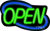 Deco Style Green Open With Blue Border Neon Sign