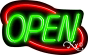 Deco Style Green Open With Red Border Neon Sign
