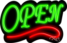 Deco Style Green Open With Red Line Neon Sign