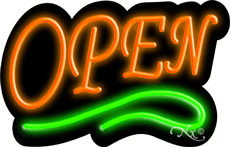 Deco Style Orange Open With Green Line Neon Sign