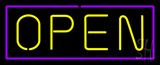 Open Purple Border Yellow Letters Neon Sign