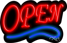 Deco Style Red Open With Blue Line Neon Sign